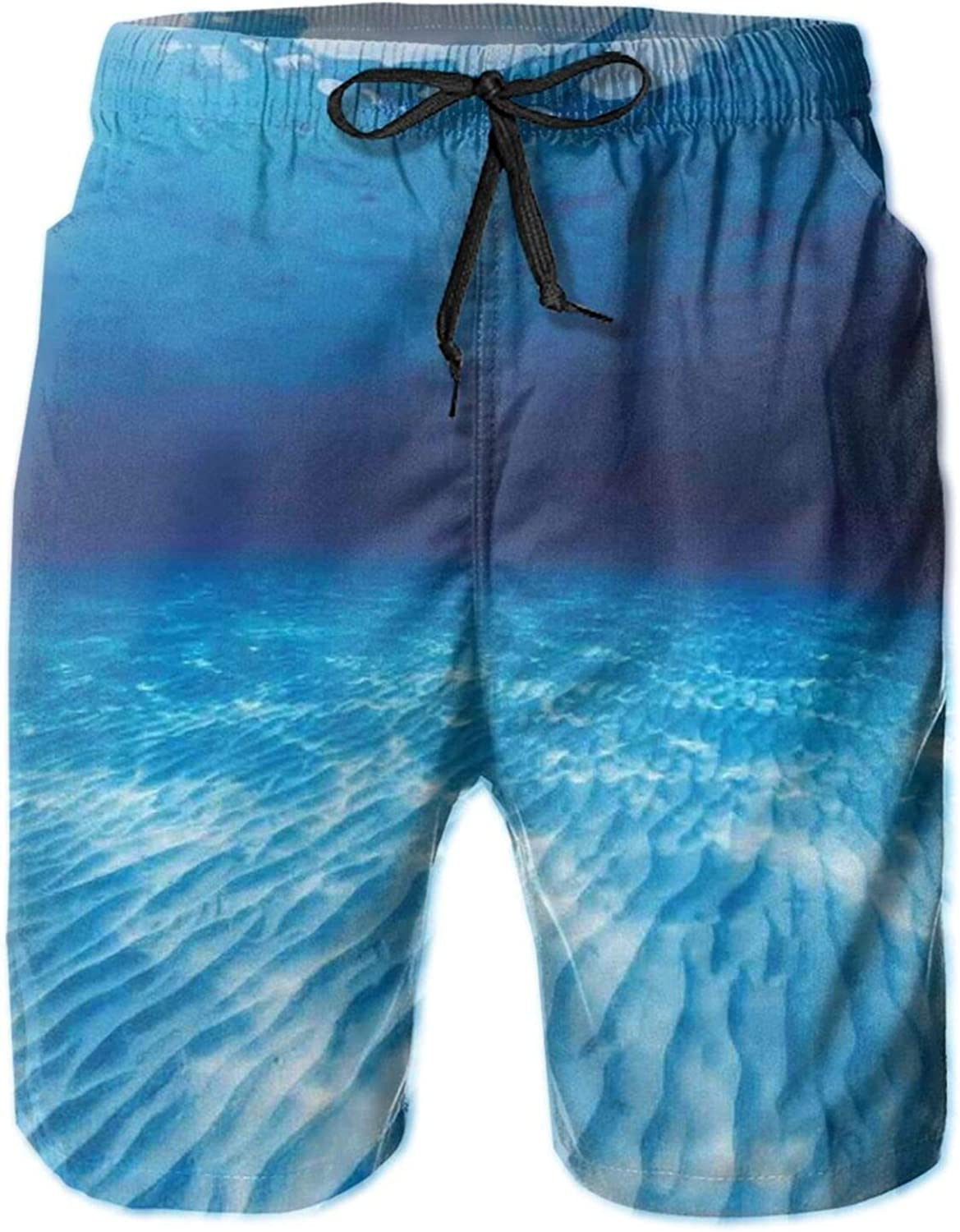 Underwater Shot of The Curled Sandy Bottom in Andaman Sea Thailand Swimming Trunks for Men Beach Shorts Casual Style,XL