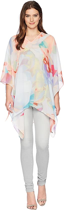 Abstract Floral Chiffon Poncho