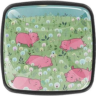 Paquet de 4 boutons d'armoire de cuisine, boutons pour tiroirs de commode Animal heureux piggies fleuri champ Tire les poi...