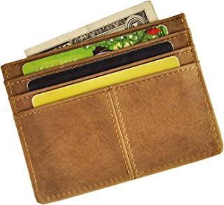 Le'aokuu Genuine Leather Magnet Money Clip Credit Card Case Holder Front Pocket Slim Wallet (light brown)