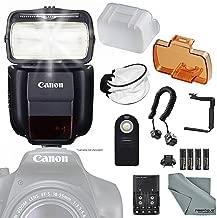 Canon Speedlite 430EX III-RT Flash (0585C006) w/Essential Bundle Includes: 180Degree Quick Flip Bracket, Camera Flash Cords, Soft Diffuser, Remote Control and FiberTique Microfiber Cleaning Cloth