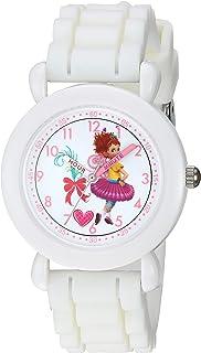 ساعة ديزني للبنات فانسي نانسي كوارتز مع حزام سيليكون، ابيض، 15.7 (WDS000593)