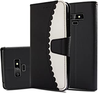 Galaxy Note 9 Case, ZERMU Shockproof Kickstand Feature Premium PU Leather Color Collision Pattern Flip Wallet Case Card Holder ID Slot Hand Strap Cover Samsung Galaxy Note 9 6.4