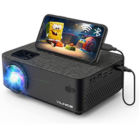 """WiFi Projector,VILINICE 5000L Mini Outdoor Movie Projector ,Portable Phone Projector with Wireless Mirroring,1080P and 240"""" Supported, Compatible with Fire Stick,HDMI,VGA,USB,TV,Box,Laptop,DVD"""