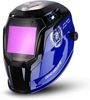 Solar Powered Welding Helmet Auto Darkening Professional Hood with Wide Lens Adjustable Shade Range 4/9-13 for Mig Tig Arc Weld Grinding Welder Mask (Blue Black)
