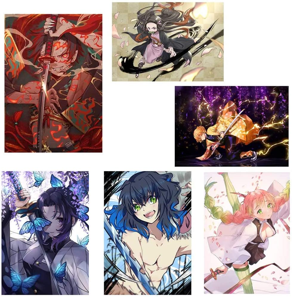 Kimetsu no Yaiba Poster mural avec dessin anim/é japonais pour d/écoration dint/érieur Agatsuma Zenitsu Xunmowei Demon Slayer