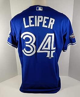 2016 Toronto Blue Jays Tim Leiper #34 Game Used Blue Jersey Postseason Patch - Game Used MLB Jerseys