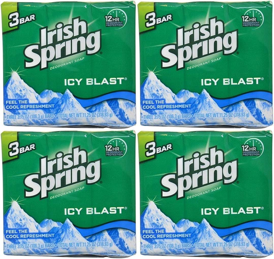 かかわらず呼ぶ遊具Irish Spring バースバー、アイシーブラスト3.75オズ、3小節の12カウント4Pack