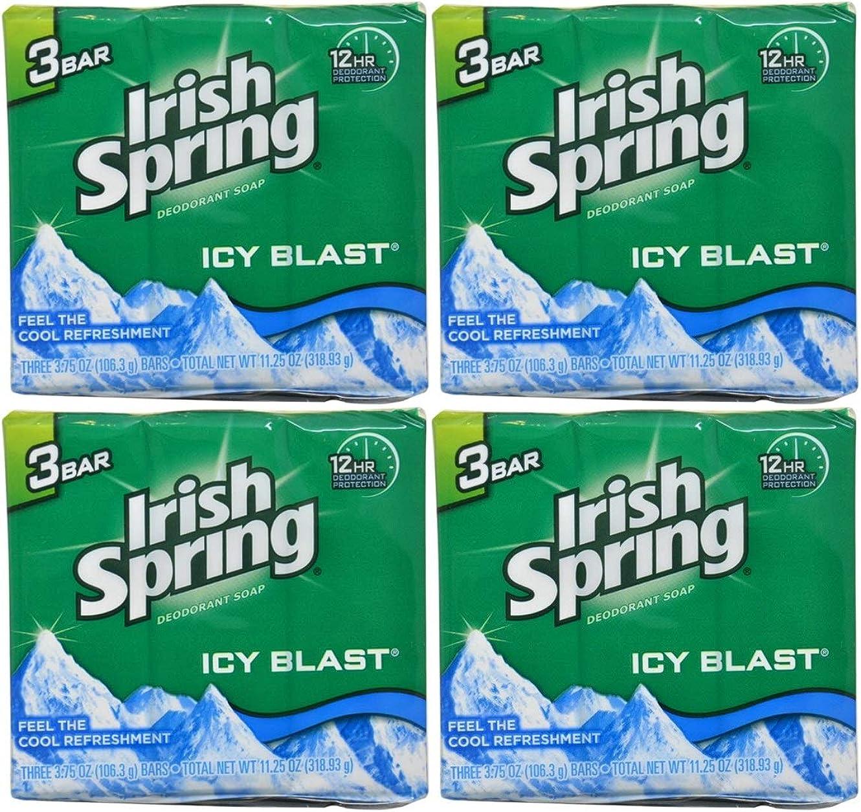 パーク死んでいる非難Irish Spring バースバー、アイシーブラスト3.75オズ、3小節の12カウント4Pack
