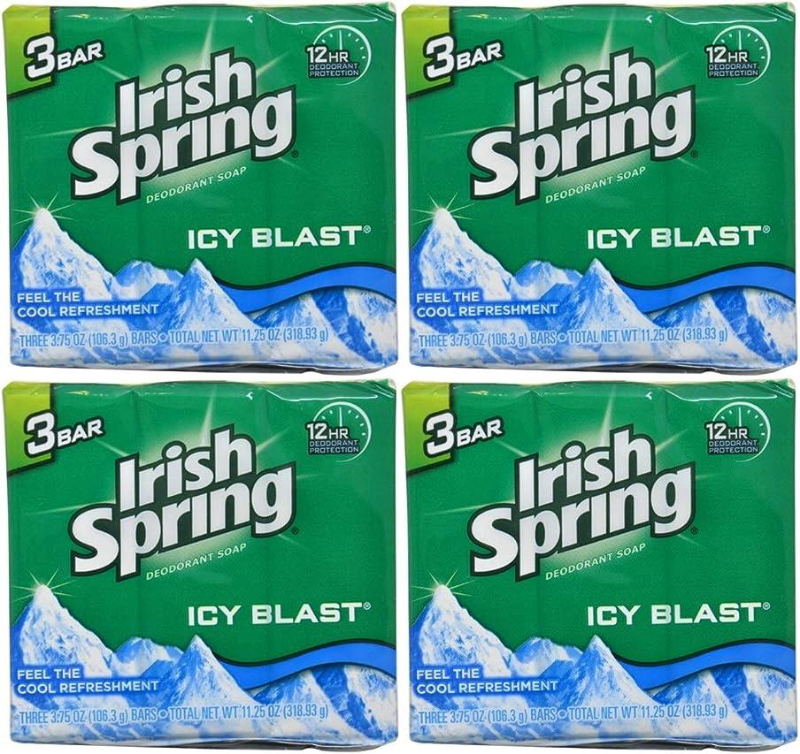 フットボールアレルギー性すみませんIrish Spring バースバー、アイシーブラスト3.75オズ、3小節の12カウント4Pack