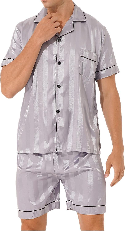XUNZOO Mens His Silk Satin Pajama Set Short Sleeve Sleepwear Button-Down PJ Two-Pieces Loungewear