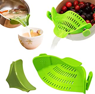 SGLXQ Kitchen Gadgets Strainer for Food, Green Silicone Food Strainer Heat Resistant Clip on Strainer Colanders, Drainer H...