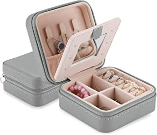 صندوق مجوهرات صغير من بوركيس مصنوع من الجلد الصناعي وحامل صغير لحفظ مجوهرات السفر مزود بمراة للسلاسل وحلقات واقراط