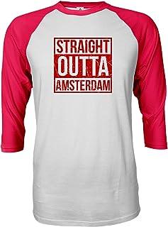 Sheki Apparel Soccer Shirt Straight Outta Amsterdam Quarter Sleeve Raglan Tshirt