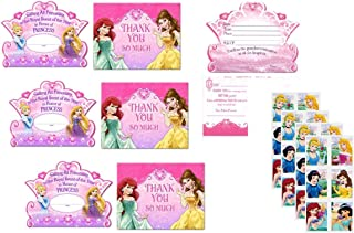 Princess Birthday Party Invitations - 24 Invitations with 24 Stickers
