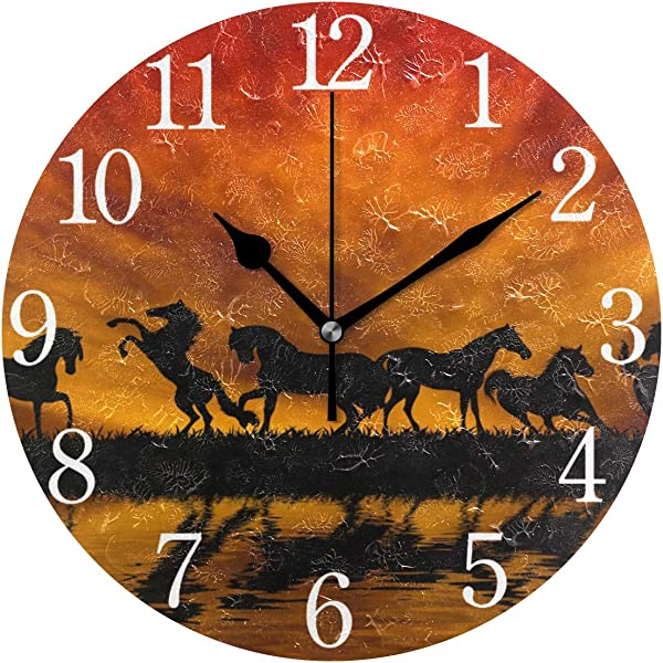 Senya Wall Clock Silent 9 5 Inch Battery Operated Non Ticking Hipster Horses On Sunset Round Decorative Acrylic Quiet Clocks For Bedroom Office School Home By Domook