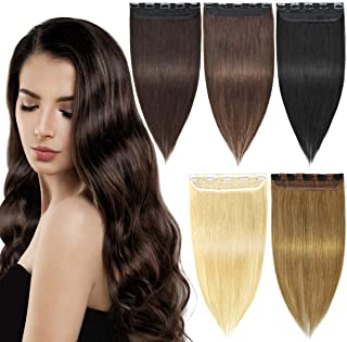 EMERLY Clip in Human Hair Extensions Long Straight 3/4 Full Head One Piece Human REMY Hair Extension for Women Black Hair Extensions 18-22 inch