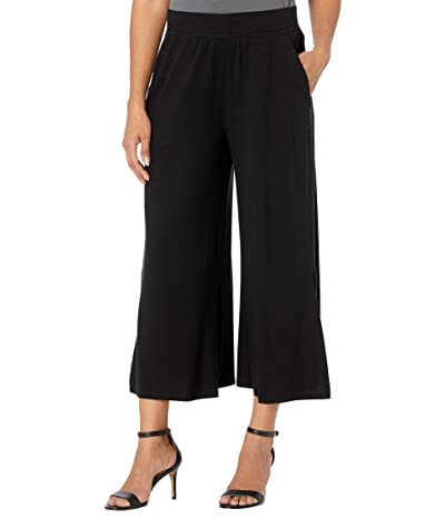 Eileen Fisher Fine Jersey Wide Leg Cropped Pants with Side Slits (Black) Women