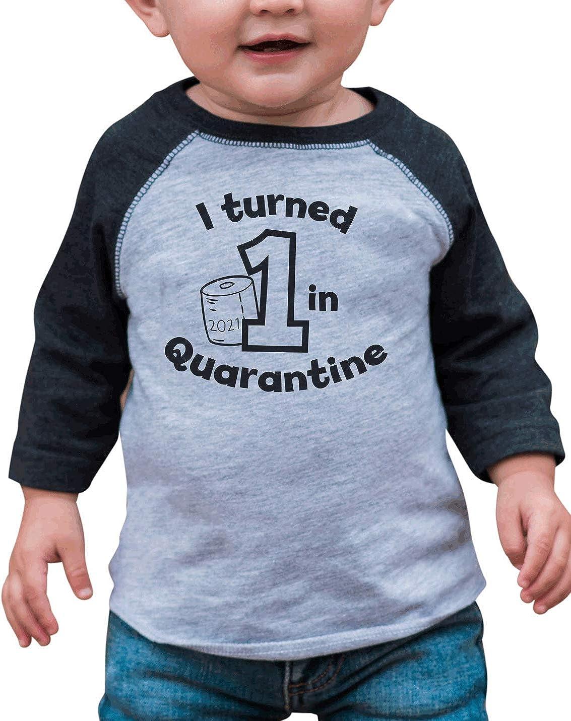 7 ate 9 Apparel Kids One 1st 1 First Birthday Quarantine Grey Baseball Tee