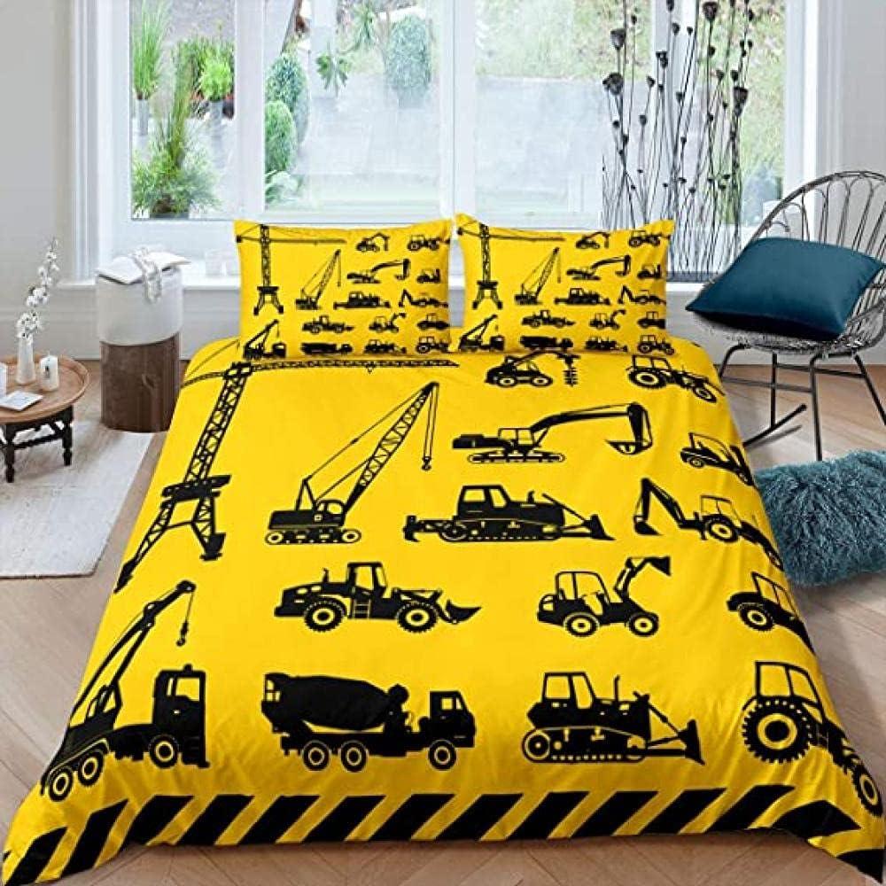 HSBZLH Luxury goods Yellow Ranking TOP15 Bulldozer Car 3pcs Black Bedding Comf Chic Set