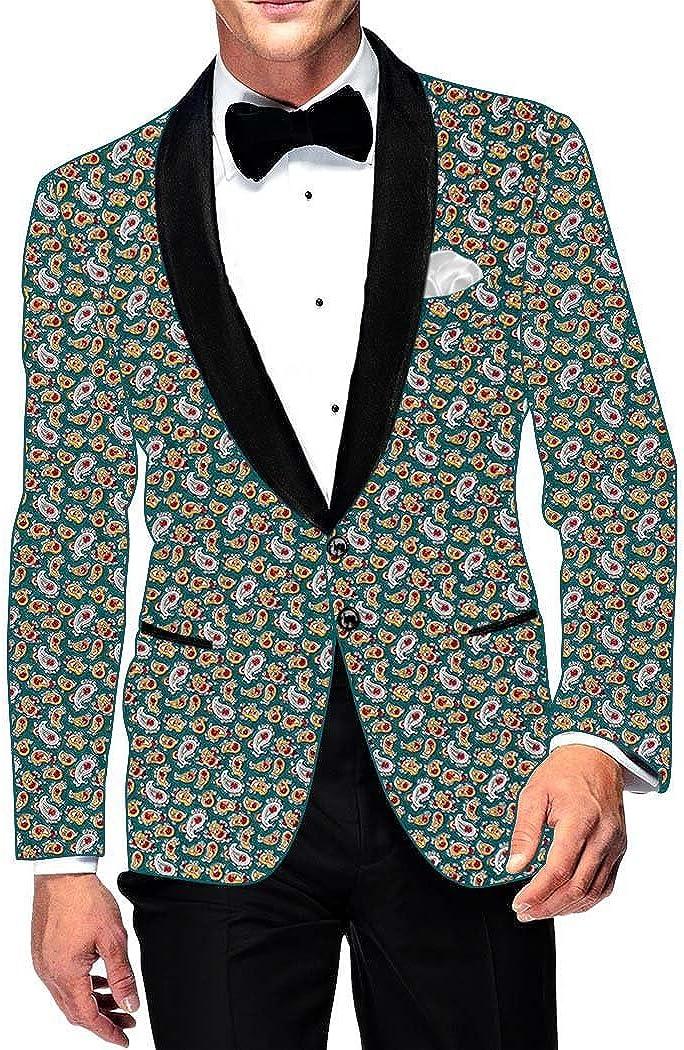 INMONARCH Mens Slim fit Casual Teal Cotton Blazer Sport Jacket Coat Paisley Printed SB15982
