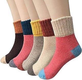 Renquen, 5 pares de calcetines de invierno para mujer, estilo vintage, gruesos, suaves, de lana, cálidos, suaves, talla única, multicolor