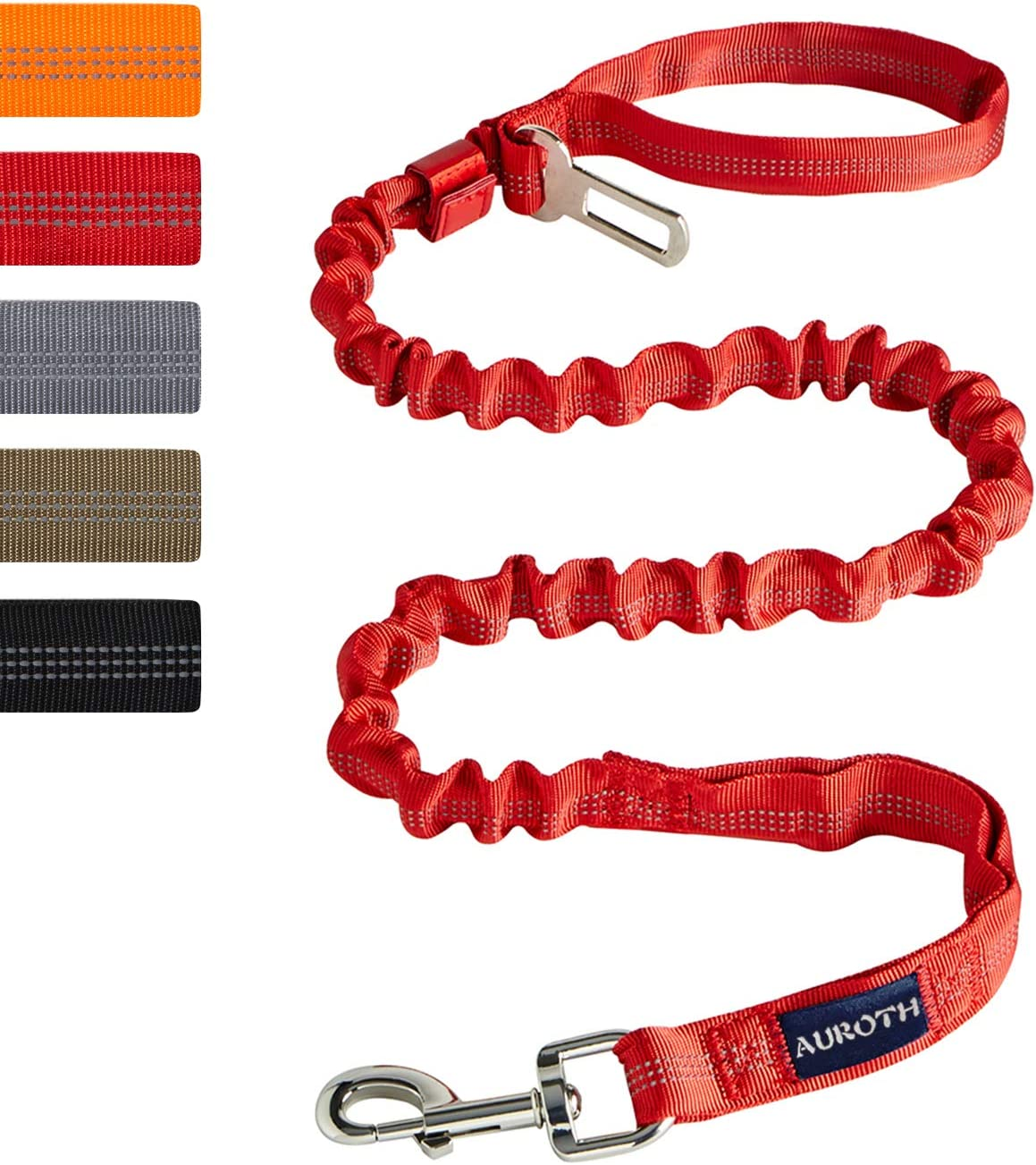 AUROTH Dog Leash Large Dogs, Heavy Duty Dog Leash Bungee, No Pull Dog Leash with Car Seat Belt Shock Absorption, Red Dog Training Leashes for Medium Large Breed Dogs 6FT, 2 Padded Handles : Pet Supplies