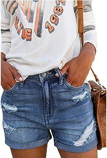 Jieming デニムショートパンツ女性の夏の青の新しいハイウエストファッションデザイン穴緩い女性のホットパンツ (Color : Blue, Size : M)