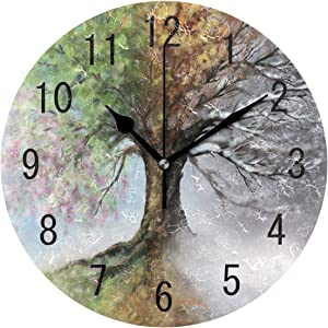 ALAZA Home Decor Four Season Tree Oil Painting Watercolor Landscape Round Acrylic 9.5 Inch Wall Clock Non Ticking Silent Clock Art for Living Room Kitchen Bedroom