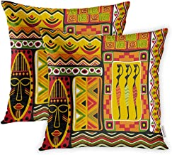 Emvency Set of 2 Throw Pillow Covers Print Polyester Zippered Africa African Aboriginal Abstract Black Pillowcase 18x18 Square Decor for Home Bed Couch Sofa