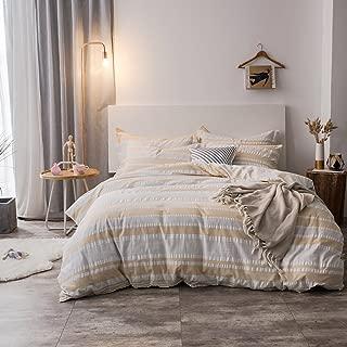 Merryfeel Duvet Cover Set,100% Cotton Woven Seersucker Stripe Duvet Cover Set - King