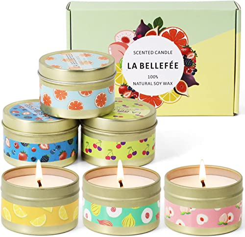 LA BELLEFÉE Scented Candle 100% Soy Wax Gift Set Travel Tin Candles ... Berry, Peach, Cherry, Grapefruit, Tarocco Blo...