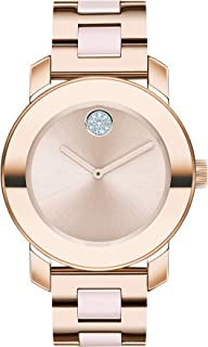 Women's Swiss Quartz Watch with Stainless Steel Strap, Rose Gold, 18 (Model: 3600639)