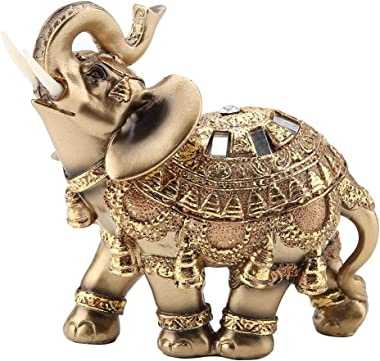 Wal front Golden Polyresin Elephant Statue Sculpture Trunk Wealth Lucky Collectible Figurine Gift Home Decor Feng Shui Ornament(L)
