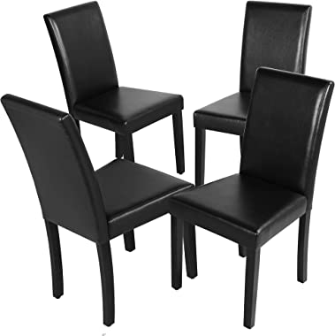 YAHEETECH Dining Chairs Set of 4 Solid Wood Legs Leatherette Padded Cushion Parson Kitchen Chairs for Home and Restaurants Black