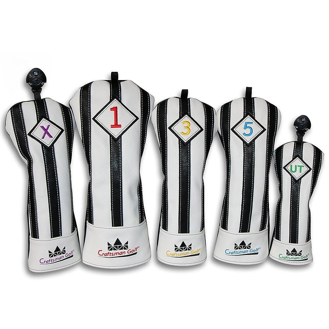 旧正月パウダーパーティーCRAFTSMAN(クラフトマン)ユベントスファン向け イタリア風 ゴルフヘッドカバー 合成レザー製 たて縞黒白 バージョンアップ (たて縞黒白 セット)