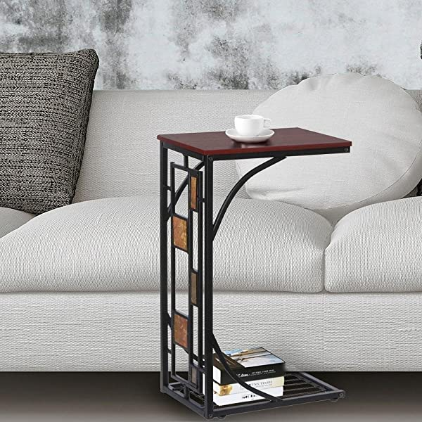 Acazon Sofa Side Table End Tables Living Room Modern Mobile Snack Table TV Tray Holder Stand Desk C Table For Coffee Laptop Geometric Design