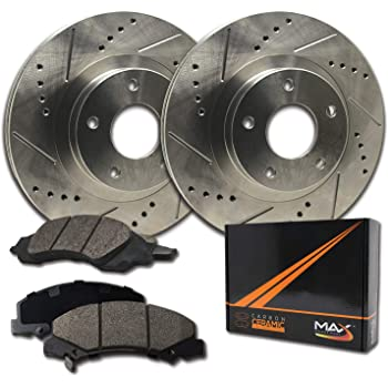 Max Brakes Front Performance Brake Kit [ Premium Slotted Drilled Rotors + Ceramic Pads ] KT053531 | Fits: 2008 08 2009 09 Chrysler Town & Country