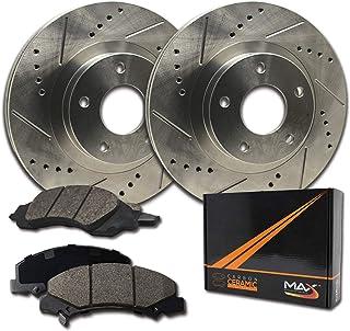 Max Brakes Rear Performance Brake Kit [ Premium Slotted Drilled Rotors + Ceramic Pads ] KT088832 Fits: 1991-1995 Acura Legend | 1996-1998 RL | 1995-1998 Honda Odyssey