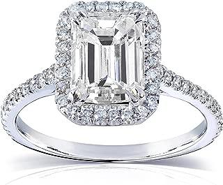 Le Lourve 14K Solid Gold 2.0 Carat Emereld Cut Engagement Ring