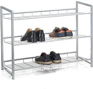 IDIMEX Etagère à Chaussures System 3 tablettes Rangement pour 12 Paires en métal laqué argenté