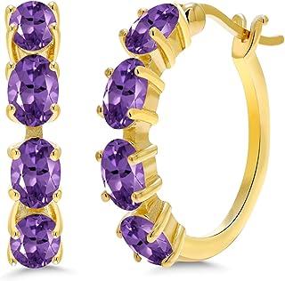 Amethyst Earrings Stainless Steel Hoops Amethyst Gemstone Multiple Colors Chip Stone Jewelry Gemstone Earrings Gold Gemstone Earrings