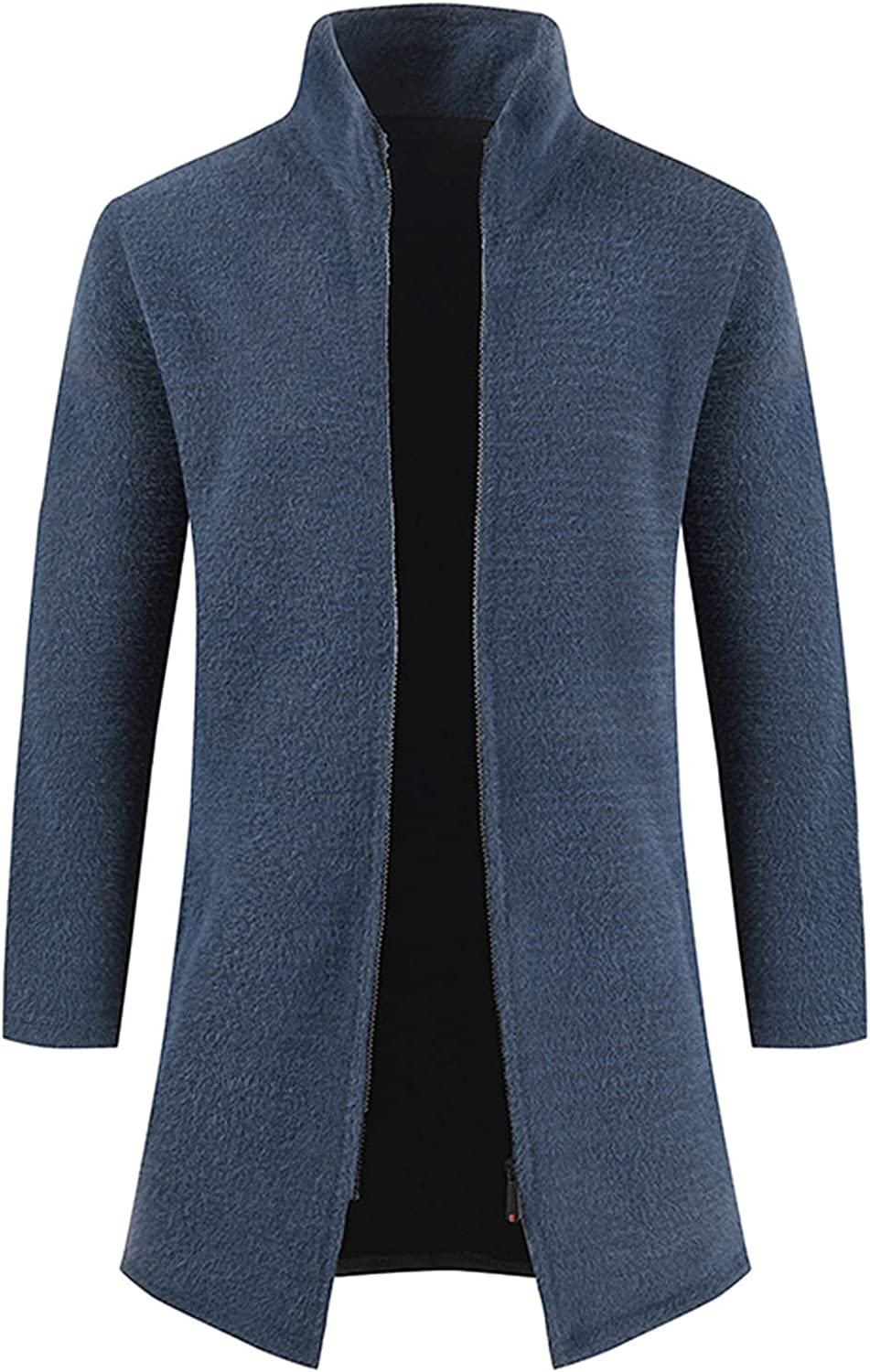 Huangse Mens Sweaters Casual Slim Full Zip Thick Knitted Cardigan Solid Color Stand Collar Cardigan Sweaters with Pockets