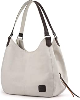 حقيبة كتف متعددة الجيوب للسيدات من DOURR عصرية من قماش القطن حقيبة يد حمل