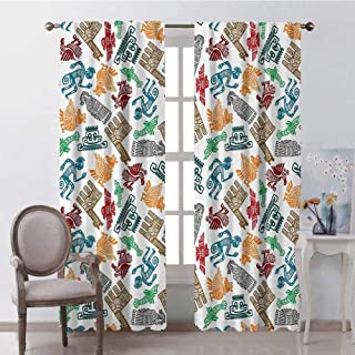 GUUVOR Tribal Heat Insulation Curtain Mayan and Aztec Primitive Icons with Shaman and Lamas Figures Archaic Boho Design for Living Room or Bedroom W100 x L63 Inch Multicolor