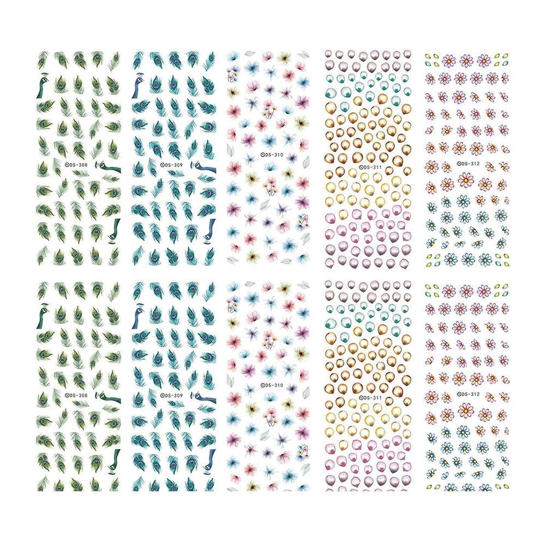 損なう不適切な学期Frcolor ネイルシール 水彩風 3D ネイルステッカー 花 ネイルホイル デザイン ネイルアートシール 爪に貼るだけ マニキュア 10枚セット