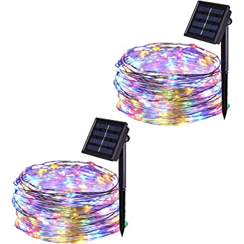 JMEXSUSS 2 Pack Solar String Lights 8 Modes 100 LED 32.8ft Solar Waterproof Fairy String Copper Wire Lights for Christmas, Bedroom, Patio, Wedding, Party,Outdoor Decorative (Multi-Color)