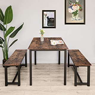 BAHOM 3 Pieces Kitchen Dining Table with Bench Set for 2...