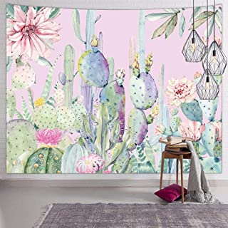 Hexagram Cactus Tapestry Wall Hanging Small Watercolor Tapestry Trippy Light Pink Floral Tapestries for Bedroom College Dorm Room Decor