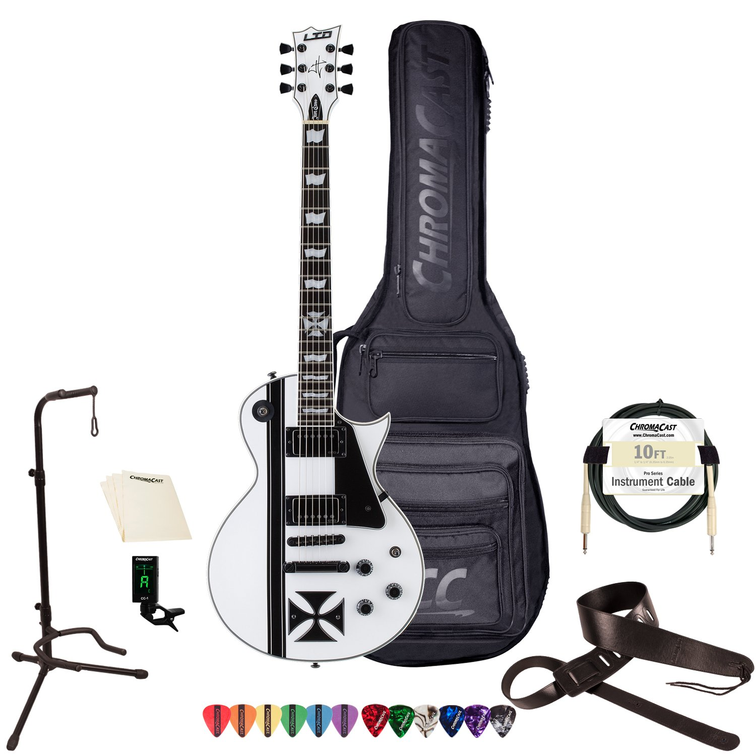 Cheap ESP LTD James Hetfield Signature Series Iron Cross Electric Guitar with Gig Bag & Accessories Snow White Black Friday & Cyber Monday 2019